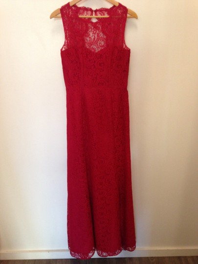 Dessy Red Lace 2940 Formal Bridesmaid/Mob Dress Size 8 (M) Image 1