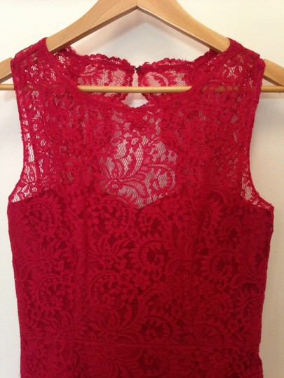 Dessy Red Lace 2940 Formal Bridesmaid/Mob Dress Size 8 (M) Image 2