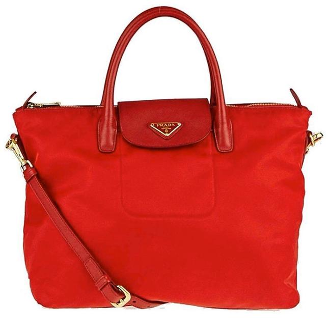 Item - Tessuto Red Nylon & Saffiano Leather Weekend/Travel Bag
