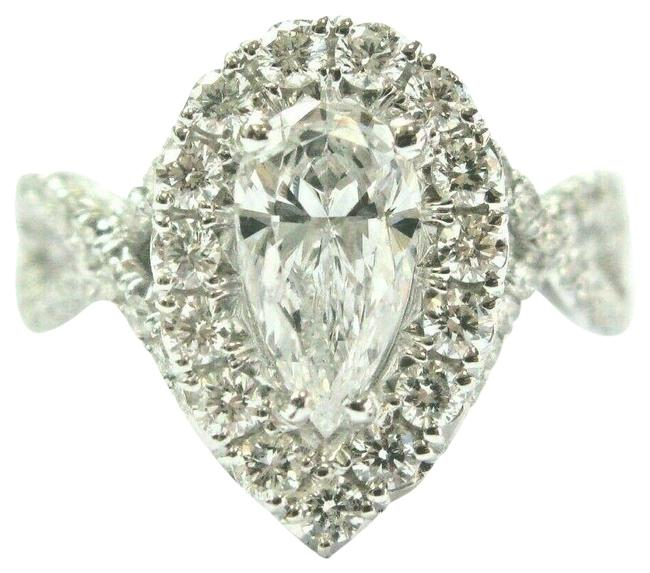 Item - White Gold Pear Shape Halo Diamond Engagement 14kt 1.91ct D-i1 10 Ring