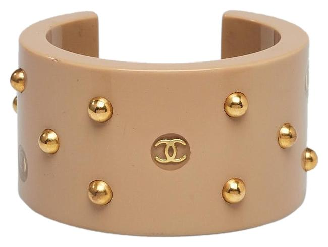 Chanel Gold Gold-tone Tan Resin Beaded Interlocking Cc Cuff Bracelet Chanel Gold Gold-tone Tan Resin Beaded Interlocking Cc Cuff Bracelet Image 1