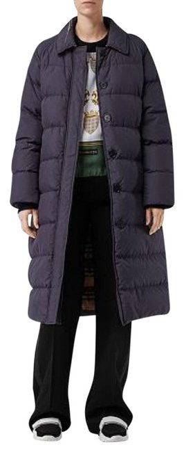 Item - Navy Bridgnorth Vintage Check-lined Quilted Long Coat Size 12 (L)