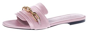 Burberry Open Toe Satin Chain Leather Pink Flats
