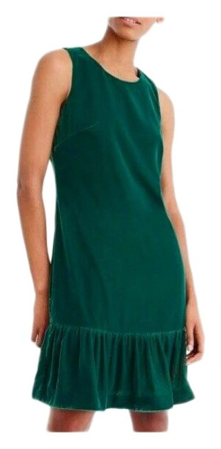 Item - Green Velvet Velour Ruffle-hem Color Short Formal Dress Size 6 (S)