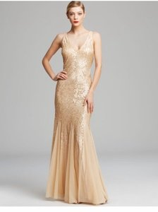 Adrianna Papell Gold Nude Sequin Gown Formal Wedding Dress Size 10 (M)