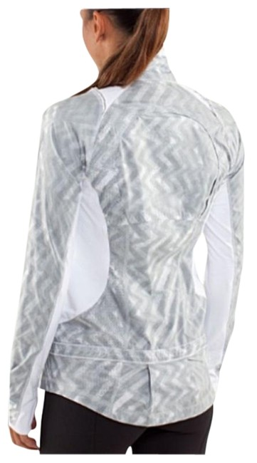 Item - Gray White Nothin But Run Water-repellent Body-skimming Fit Jacket Size 2 (XS)