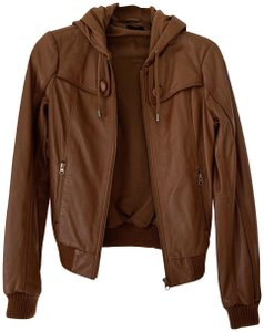 Bardot Cognac Brown Leather Jacket