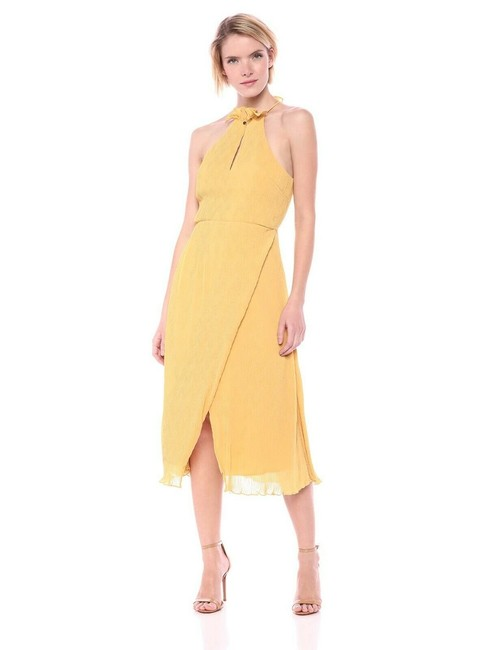 Item - Yellow Skylines Golden Chiffon Lined Pleated Midi Mid-length Cocktail Dress Size 4 (S)
