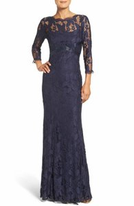 Adrianna Papell Navy Polyester L Gunmetal Women's L/S Lace Gown with Beaded Modern Bridesmaid/Mob Dress Size 4 (S)