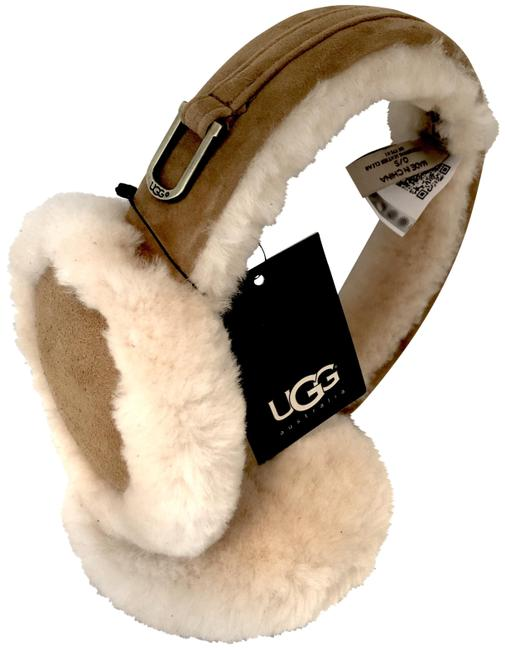 Item - Chestnut Shearling and Suede Earmuffs with Brass Fixture and Tag- Hat