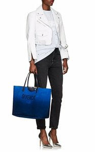 Givenchy Logo Reversible Leather Suede Tote in Blue/Silver