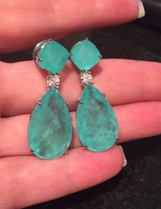 Blue-green Angelina Jolie Inspired High Quality Simulated Emerald Earrings