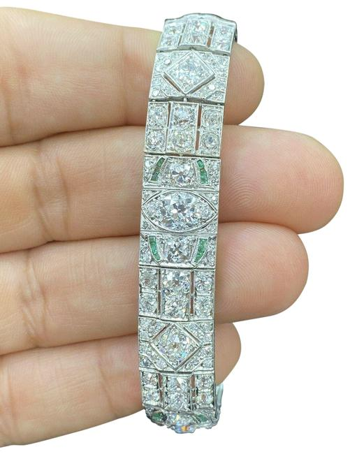 Custom Made Platinum Art Deco Old Mine Diamond & Green Emerald Tennis 15. Bracelet Custom Made Platinum Art Deco Old Mine Diamond & Green Emerald Tennis 15. Bracelet Image 1