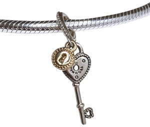 PANDORA Pandora two toned Key charm sterling silver and 14kt gold dangle