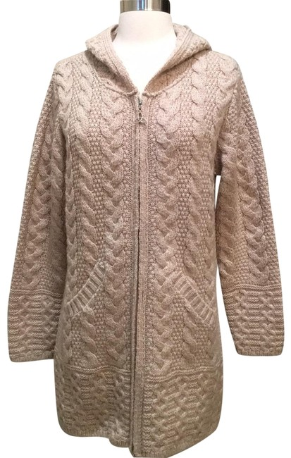 Item - Zippered Cable Knit Cardigan Tan Heather Sweater