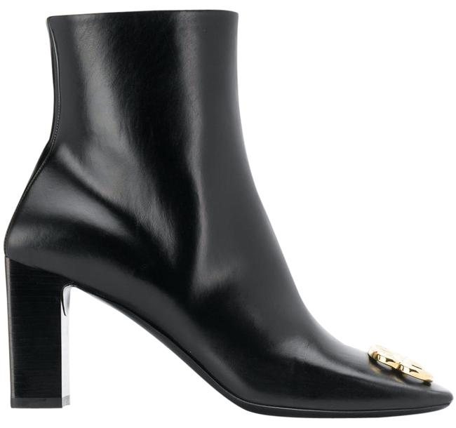 Item - Black Square Toe Bb Gold Metal Logo Leather Short Ankle Heel Boots/Booties Size EU 39.5 (Approx. US 9.5) Regular (M, B)
