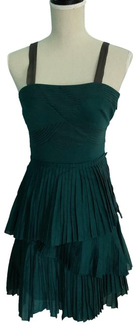 Item - Green/Teal Pleated Mid-length Cocktail Dress Size 2 (XS)