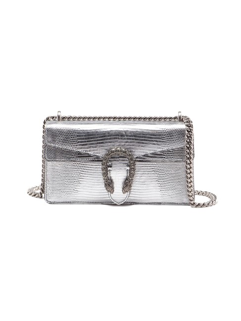 Item - Dionysus Spk Lizard Small Metallic Silver Leather Shoulder Bag