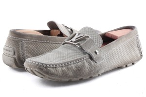 Louis Vuitton Gray Suede Checker Moccasin Loafers Shoes
