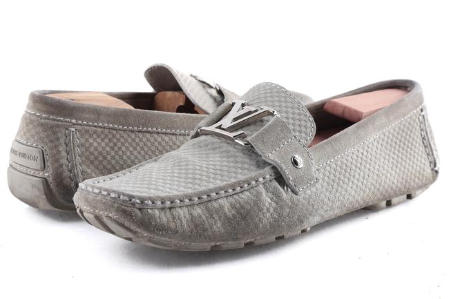 Item - Gray Suede Checker Moccasin Loafers Shoes