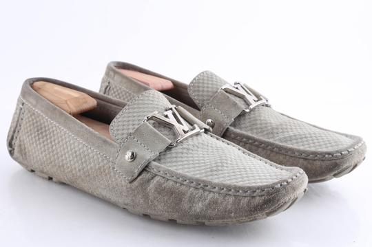 Louis Vuitton Gray Suede Checker Moccasin Loafers Shoes Image 1