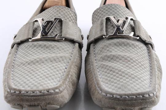 Louis Vuitton Gray Suede Checker Moccasin Loafers Shoes Image 10