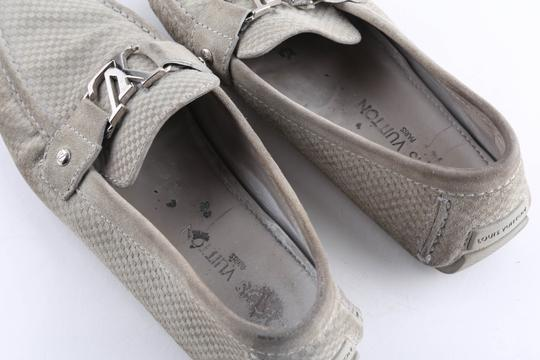 Louis Vuitton Gray Suede Checker Moccasin Loafers Shoes Image 11