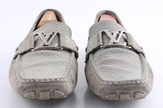 Louis Vuitton Gray Suede Checker Moccasin Loafers Shoes Image 2