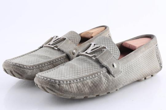 Louis Vuitton Gray Suede Checker Moccasin Loafers Shoes Image 3