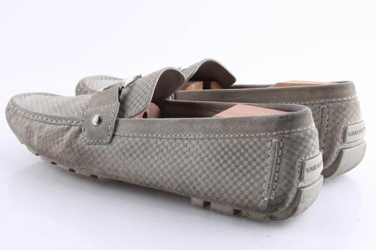 Louis Vuitton Gray Suede Checker Moccasin Loafers Shoes Image 4