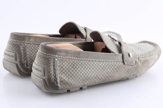 Louis Vuitton Gray Suede Checker Moccasin Loafers Shoes Image 6