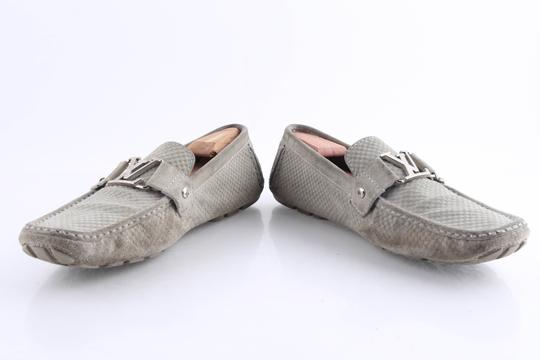Louis Vuitton Gray Suede Checker Moccasin Loafers Shoes Image 7