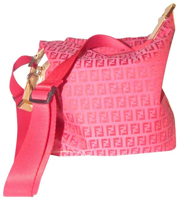 Item - Shoulder Zucchino Cross Body Red/Pink Print/Camel Canvas and Leather Hobo Bag