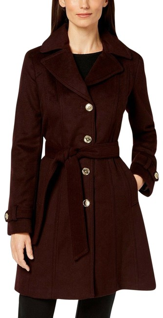 Item - Burgundy Removable Hood Single Breasted Wool Coat Size 00 (XXS)