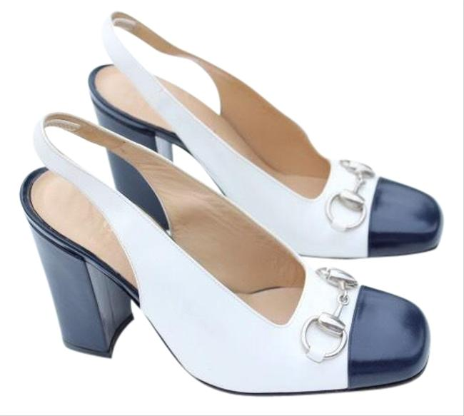 Item - White Dark Navy Blue Horsebit Sling Back Pumps Size US 7.5 Wide (C, D)