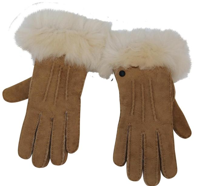 UGG Australia Chestnut Brown L Suede Toscana Fur Gloves UGG Australia Chestnut Brown L Suede Toscana Fur Gloves Image 1