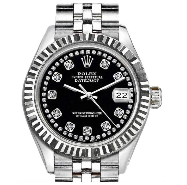 Rolex Black Silver and 36mm Datejust Wtih Diamond Dial Watch Rolex Black Silver and 36mm Datejust Wtih Diamond Dial Watch Image 1