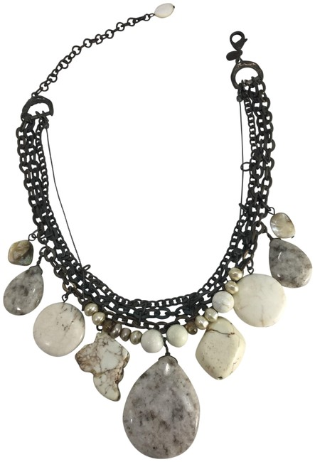 Item - White Marble Multi Stone Mother Of Pearl Oxidized Brass Necklace