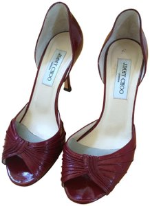 Jimmy Choo Nautical Party Valentines Day Burgundy red Pumps