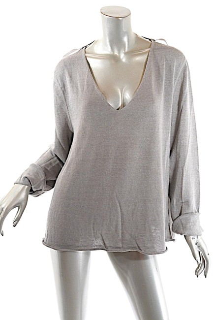 Item - Linen Blend V Neck Relaxed with Rolled Edge Beige Sage Sweater