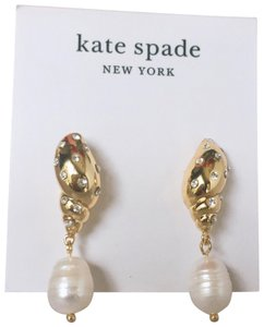 Kate Spade New Kate Spade Gold And Pearl Under The Sea Earrings With Gift Box