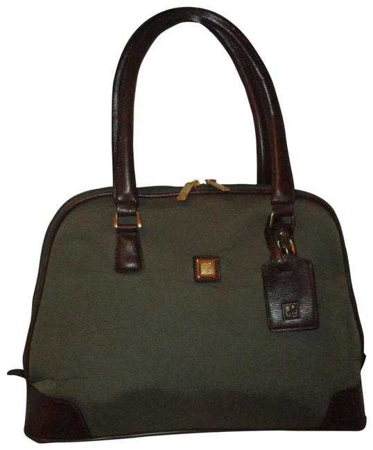 Item - Carry On Green & Brown Canvas Faux Leather Weekend/Travel Bag