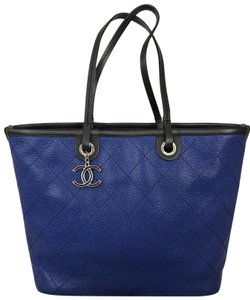 Chanel Tote in Blue with black straps