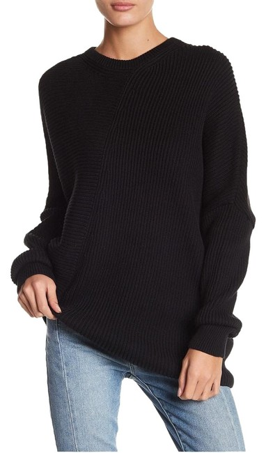Item - Downtown Cotton Blend Ribbed Asymmetrical Black Sweater