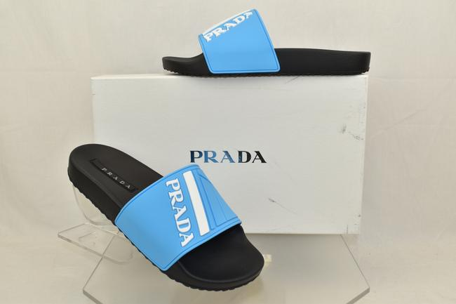 Prada Blue Mens Black Sky Rubber Stripe Logo Sandals Slides 8 / Us 9 Italy Shoes Prada Blue Mens Black Sky Rubber Stripe Logo Sandals Slides 8 / Us 9 Italy Shoes Image 1