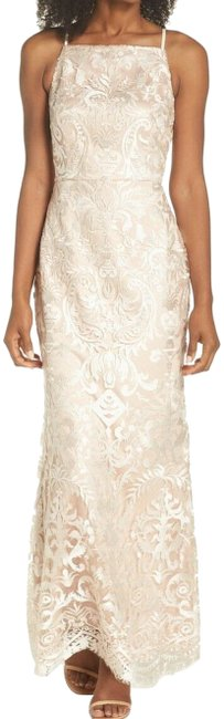 Item - Beige New Womens Embroidered Back Slit Gown Long Formal Dress Size 10 (M)