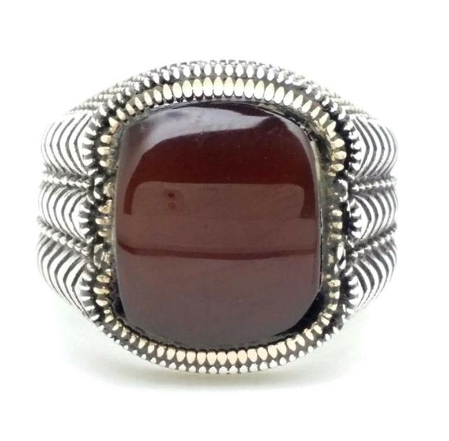 Item - Brown Chocolate Chalcedony Rectangular Stone Tooled 925 Silver Men's Ring