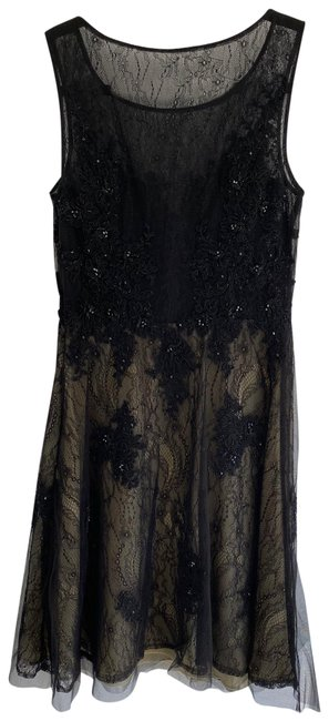 Item - Black Sequined with Nude Underlay. Worn Once and Dry Cleaned Short Cocktail Dress Size 4 (S)