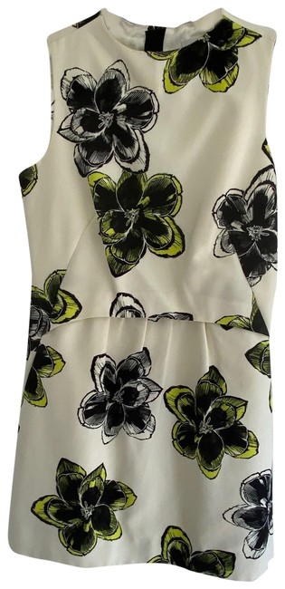 Item - Black White and Green Floral Mini Short Casual Dress Size 4 (S)