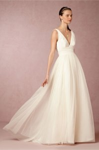 BHLDN Ivory Silk Tulle Aimee Feminine Wedding Dress Size 2 (XS)